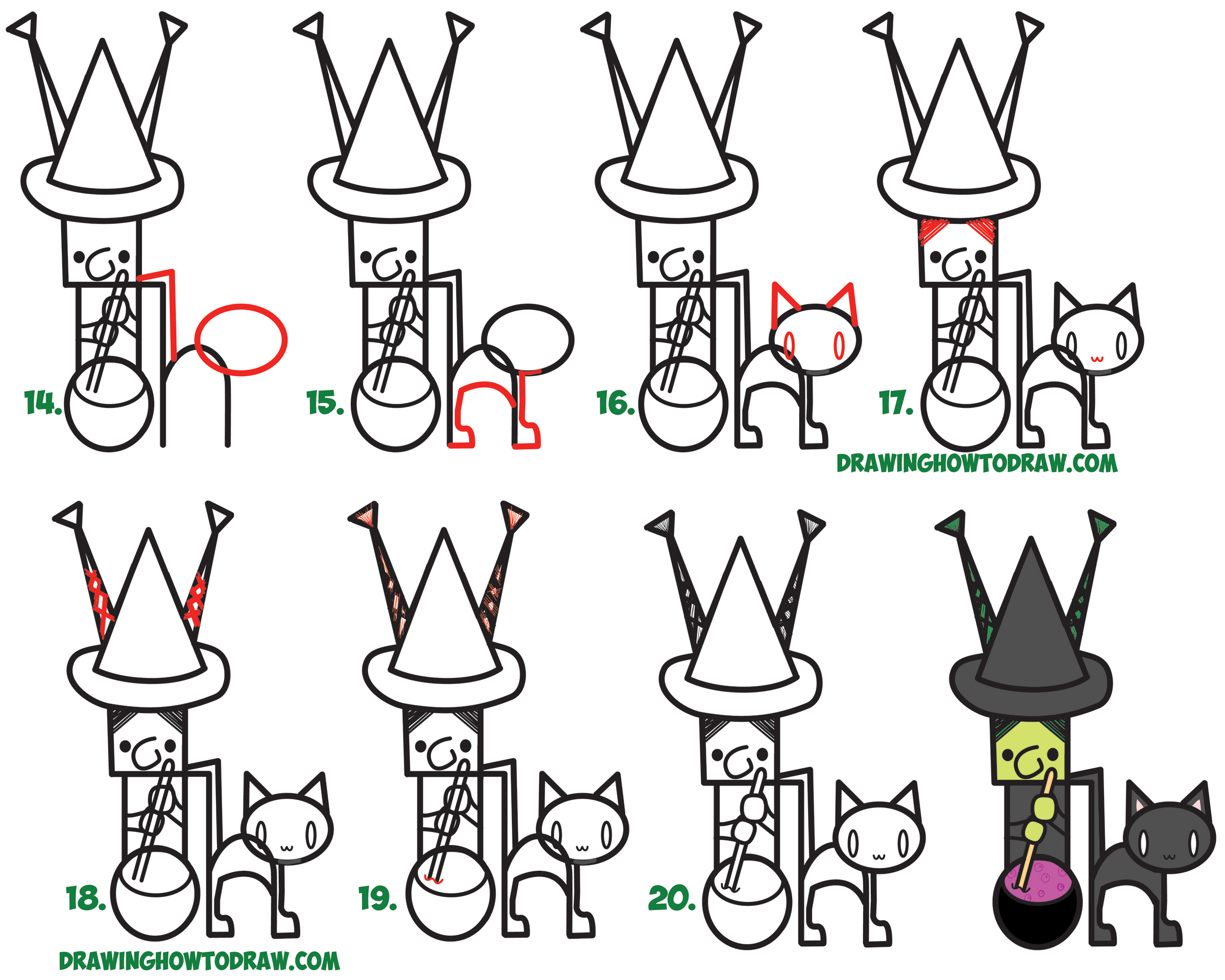 2400x1920 How To Draw Cartoon Witch And Black Cat Word Toons Easy Step By