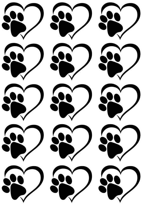 570x816 Heart Dog Cat Paw Print Black Or White Silk Screen Enamel Fused