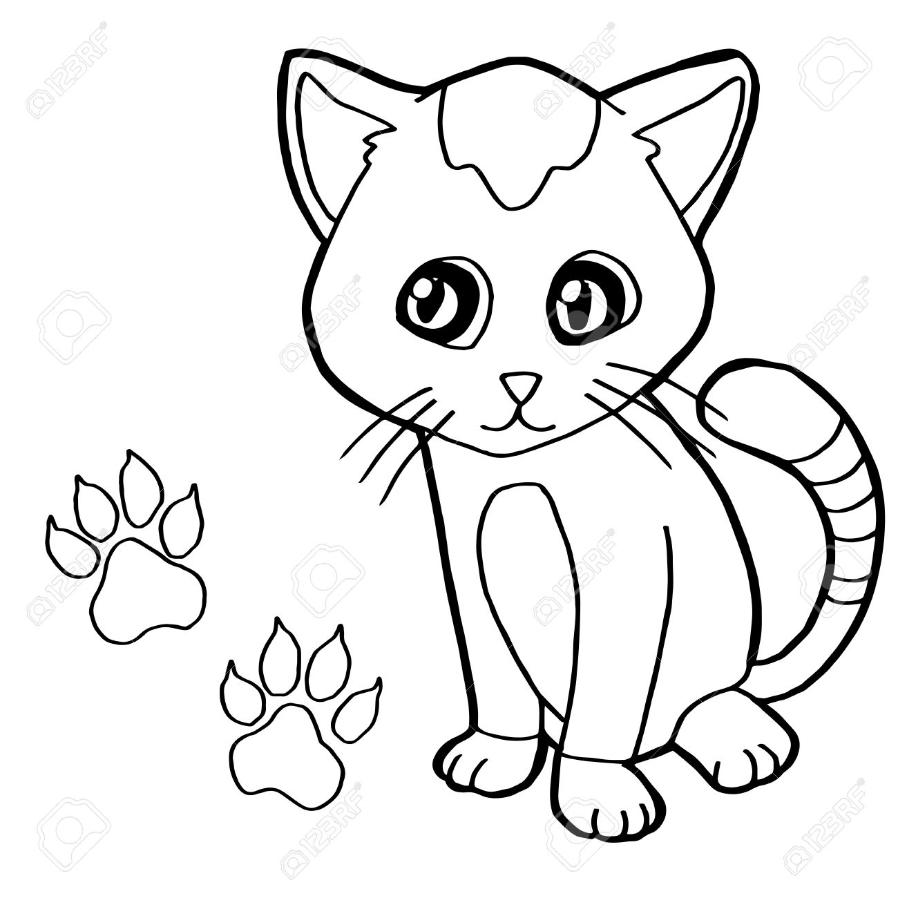 1300x1300 Paw Print With Cat Coloring Page Vector Royalty Free Cliparts