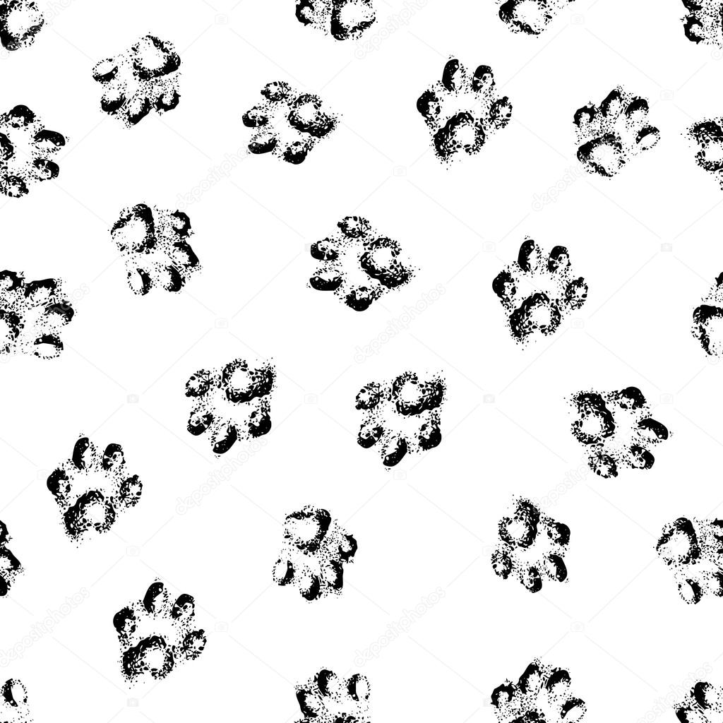 1024x1024 Paw Grunge Footprint Of Dog Or Cat Seamless Pattern Background