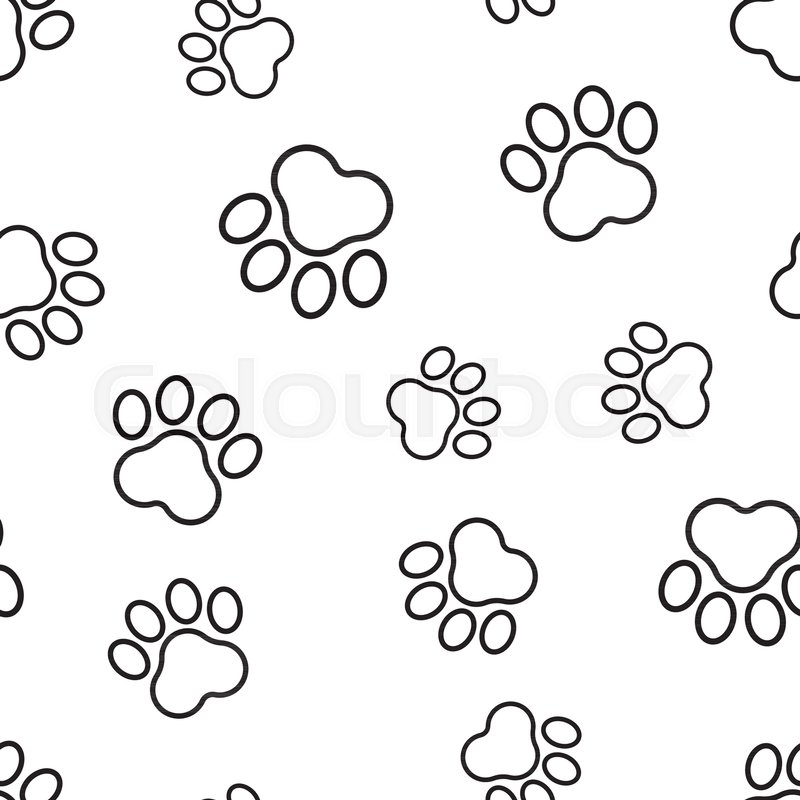 800x800 Animal Paw Print Seamless Pattern Background. Business Flat Vector
