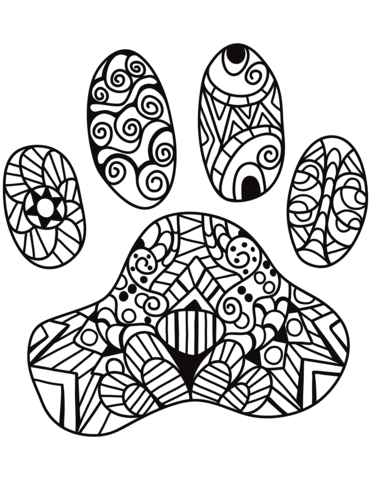 371x480 Cat Paw Print Zentangle Coloring Page Free Printable Coloring Pages