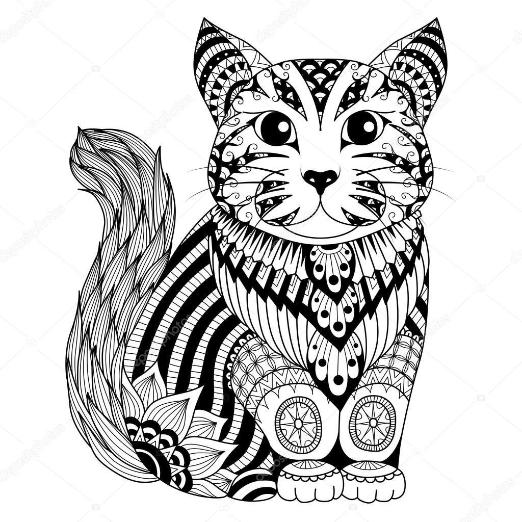 1024x1024 Drawing Zentangle Cat For Coloring Page, Shirt Design Effect, Logo