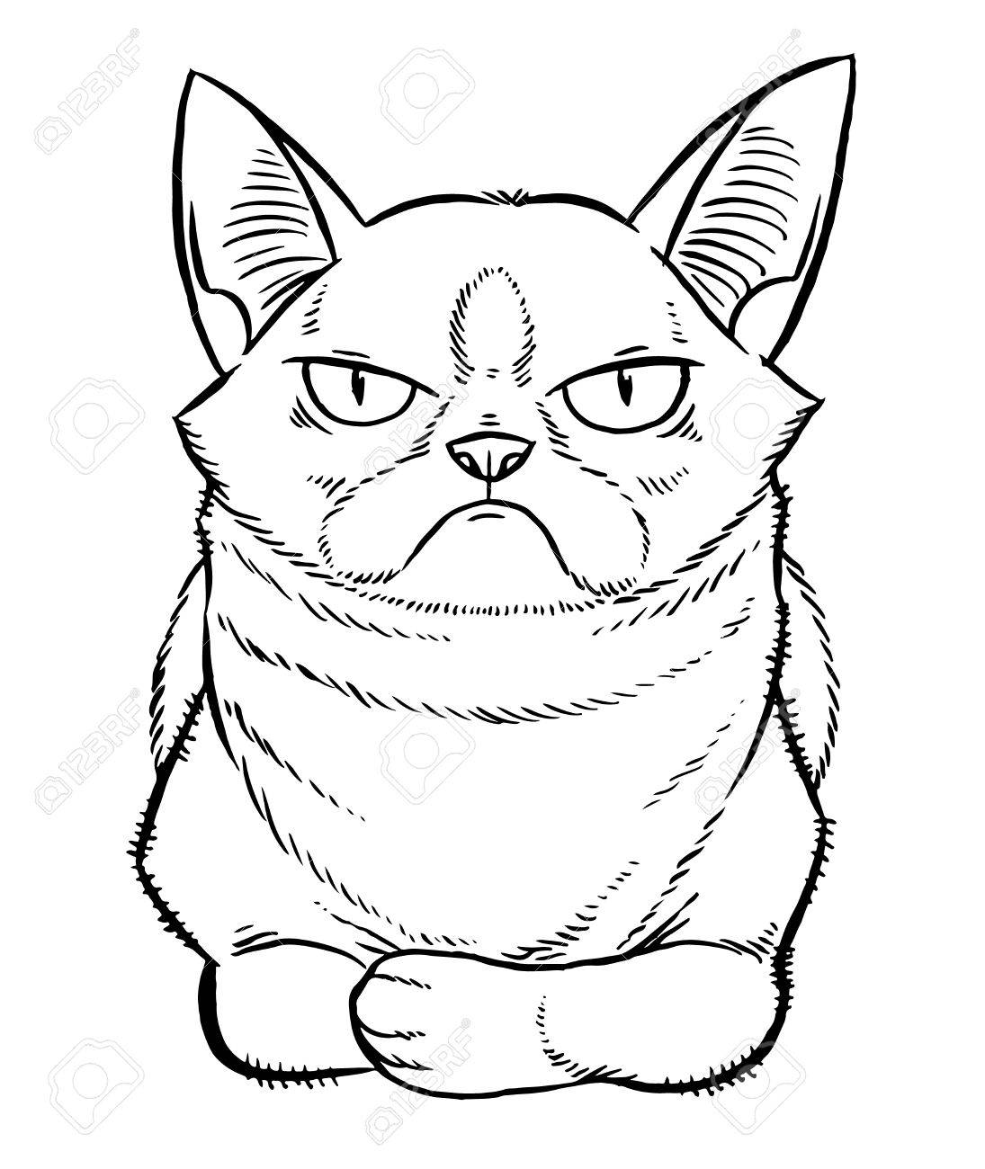 1095x1300 Gloomy Cartoon Cat Sitting