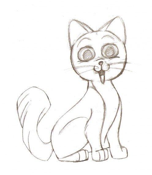 496x570 Drawing A Cartoon Cat Feltmagnet