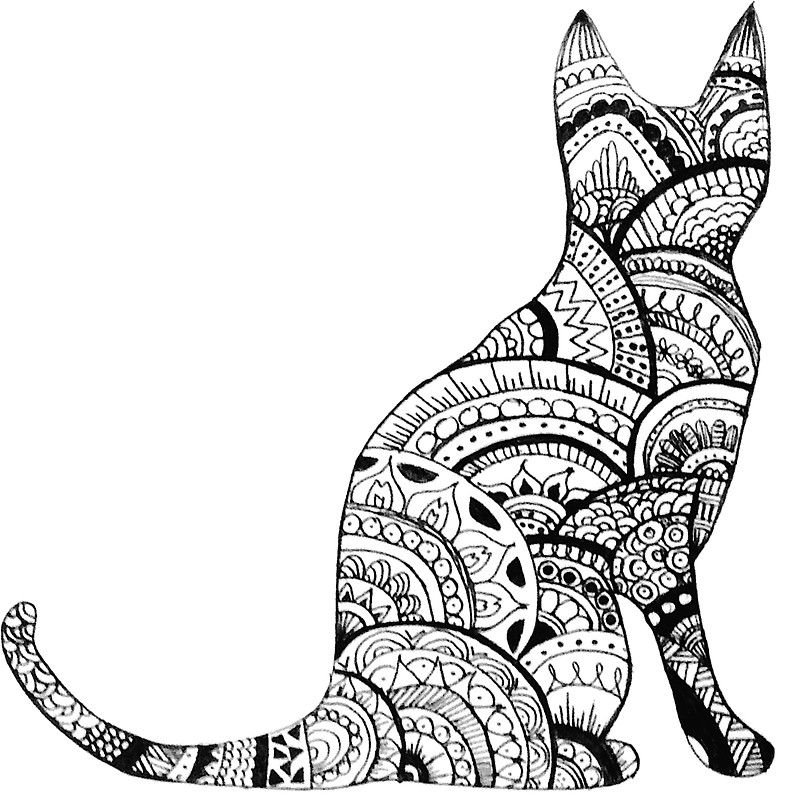 797x800 Zentangle Cat Drawing Stickers By Ayseart Un Redbubble