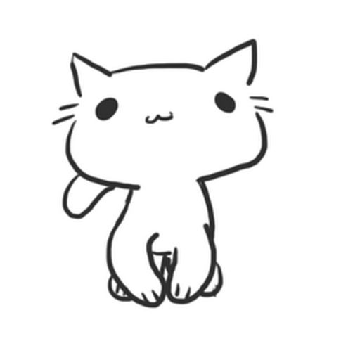 512x512 Cute Cat Drawing