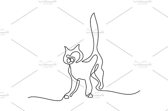 580x386 Cat Silhouette Logo. Continuous Line Drawing. Pet Icons Pet