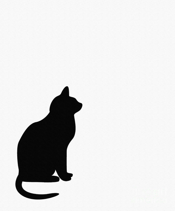 600x720 Black Cat Silhouette On A White Background Art Print By Barbara