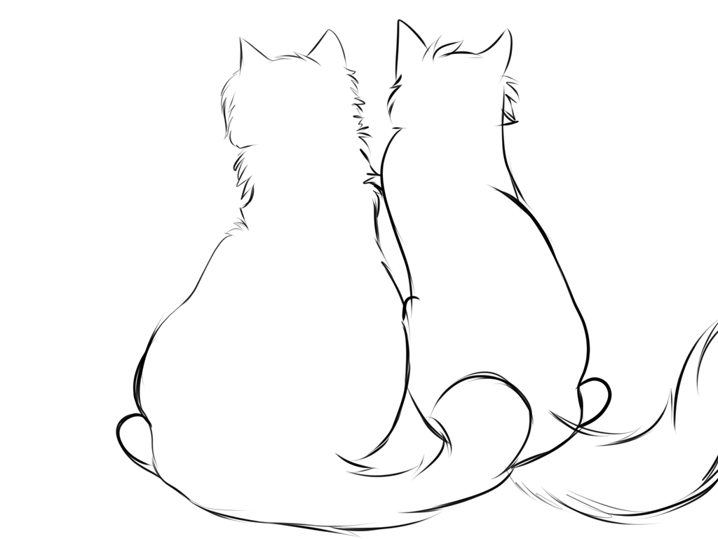 1024x768 Just A Sketch Of Two Cats Sitting Togther By Iloveslyfoxhound