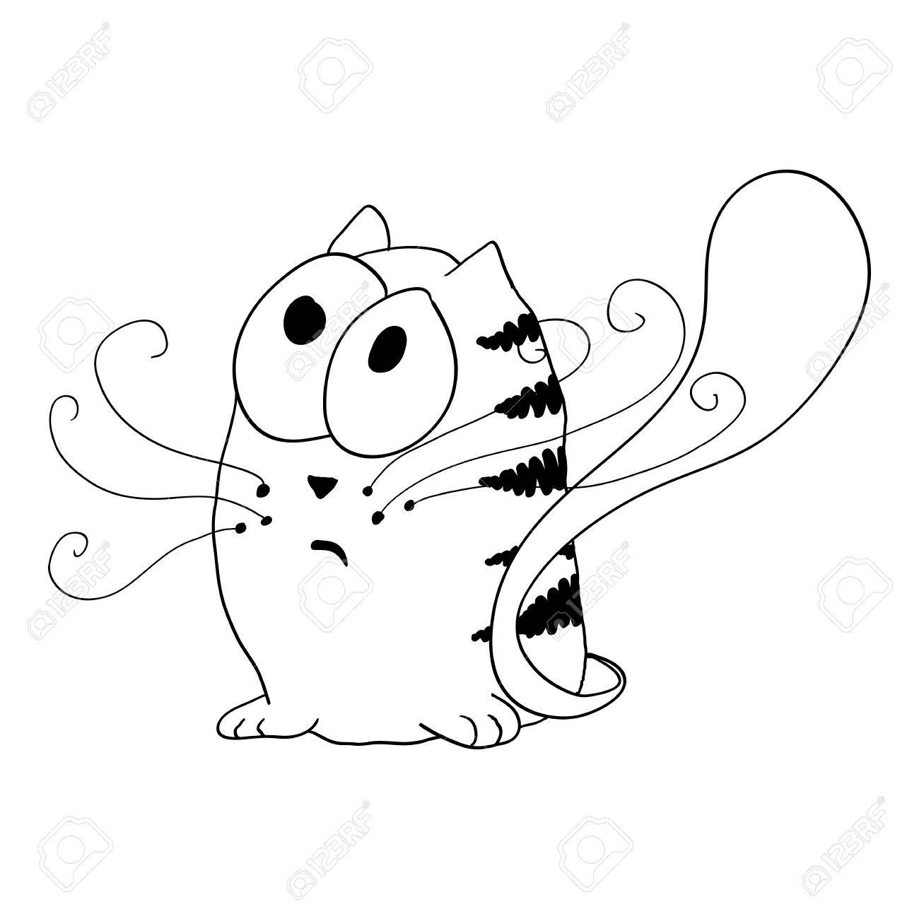 1300x1300 Sketch Cat Sitting On The Floor Royalty Free Cliparts, Vectors