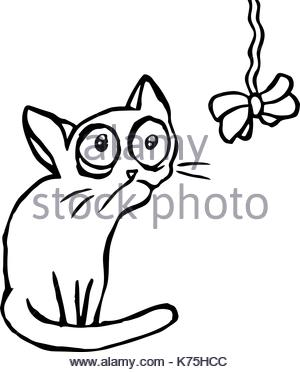 300x372 Sketch Of Cute Cat Sitting And Looking Curious Stock Photo
