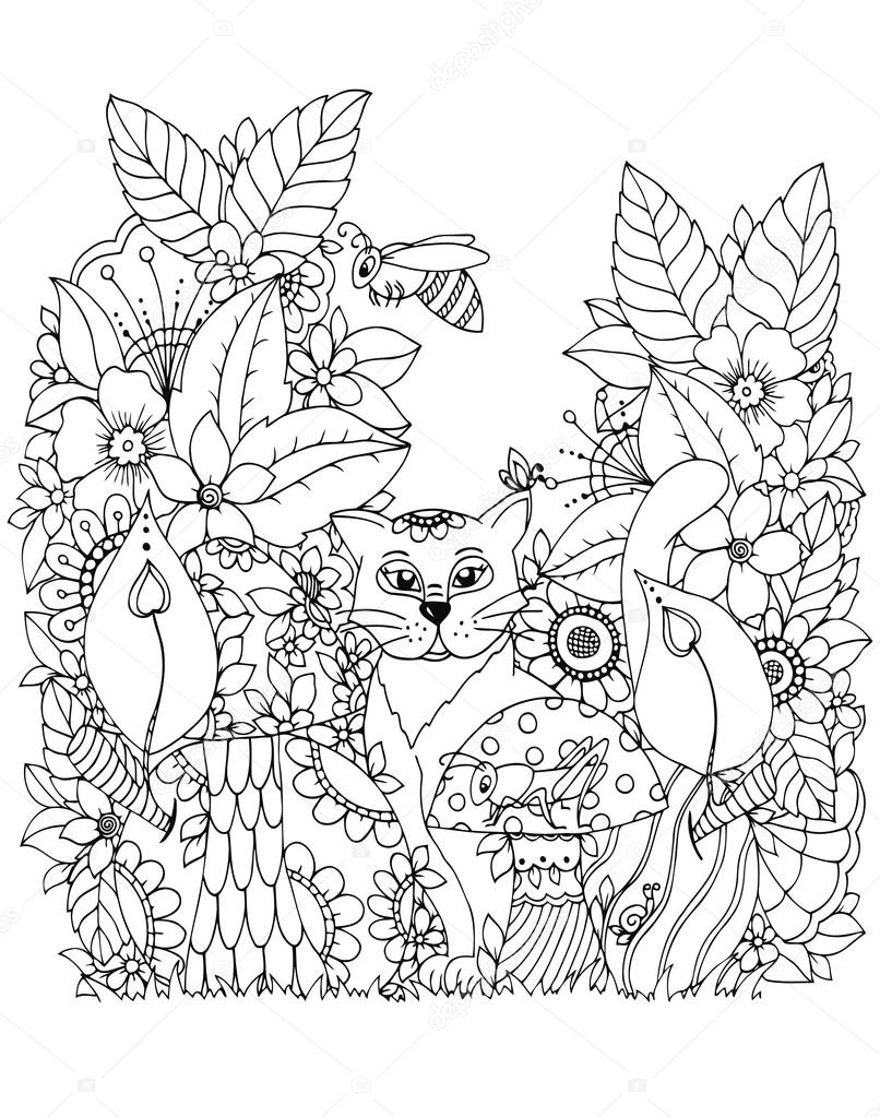 806x1023 Vector Illustration Zen Tangd, Cat Sitting In The Flowers. Doodle