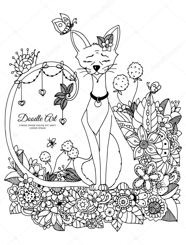 778x1023 Vector Illustration Zen Tangl, Cat Sitting In The Flowers. Doodle