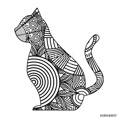 500x500 Hand Drawn For Adult Coloring Pages With Cat Sitting Zentangle