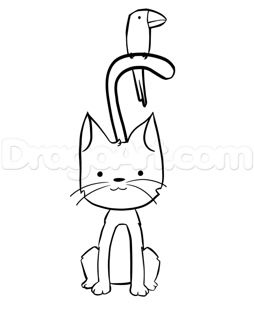 819x1024 How Do You Draw A Cat How To Draw A Cartoon Cat Step Step Drawing