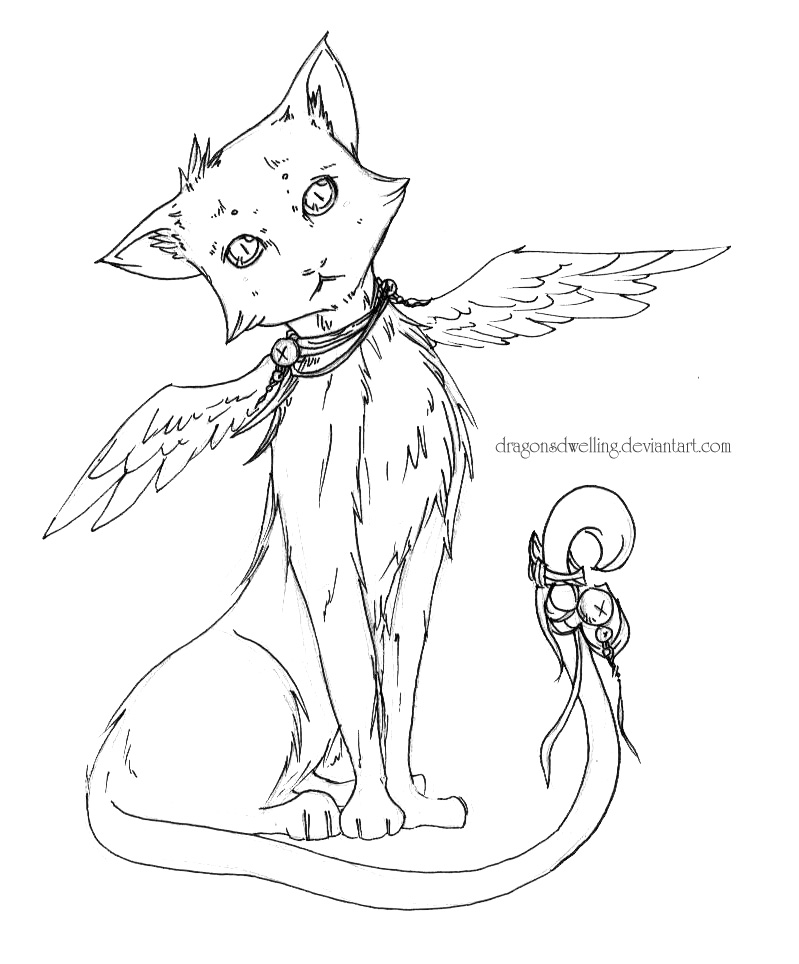 It's just an image of Punchy Cat With Wings Coloring Pages