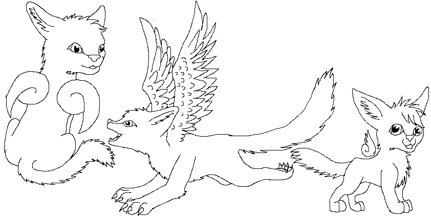842x422 Cats With Wings Lineart By Embea