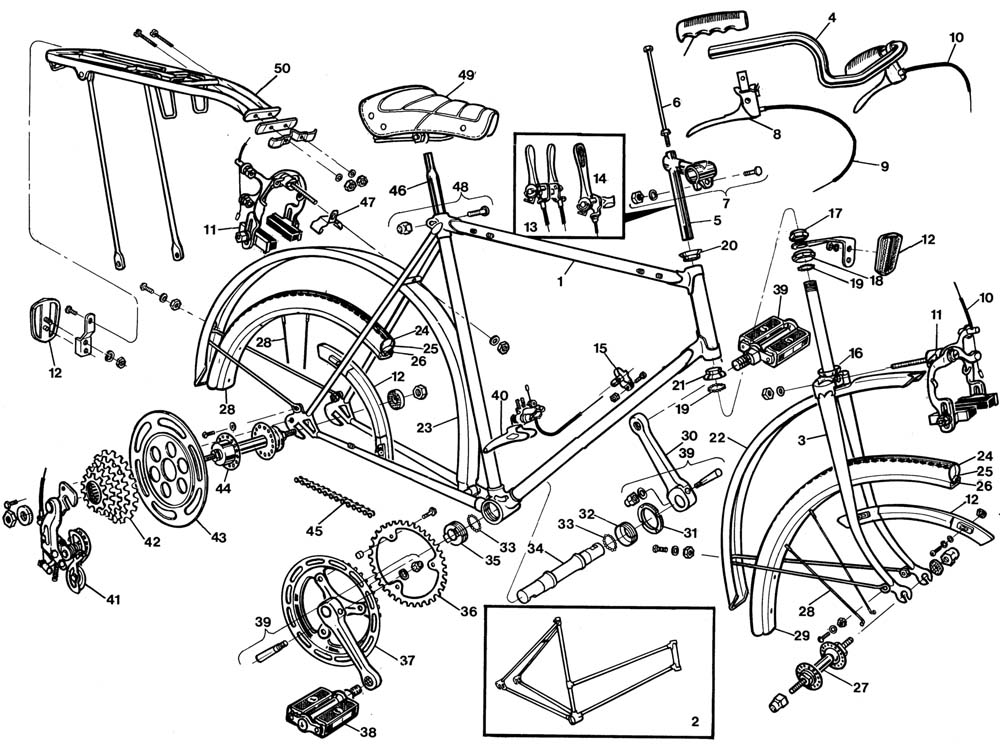 1000x744 Raleigh Sprite Dl90 Bicycle Exploded Drawing From 1977 Raleigh
