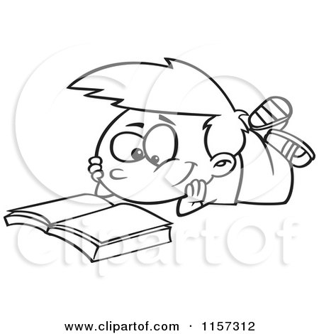 450x470 Cartoon Clipart Of A Black And White Boy Reading A Catalog