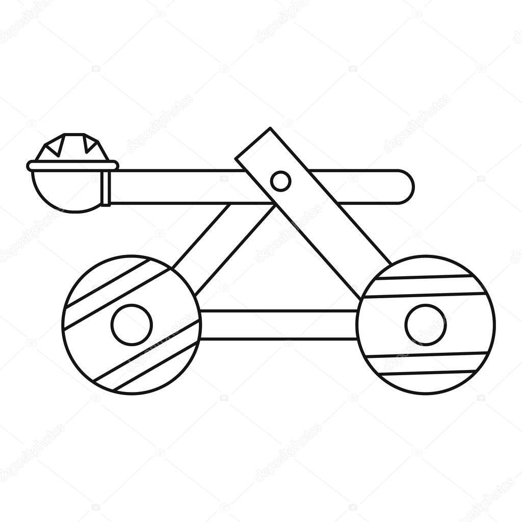 1024x1024 Wooden Catapult Icon, Outline Style Stock Vector Ylivdesign