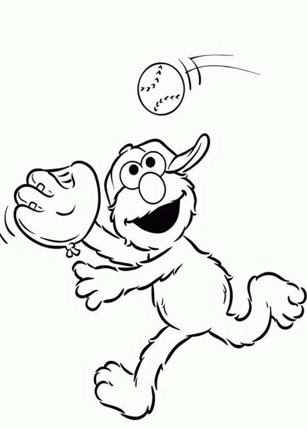 600x839 Elmo Playing Catch Coloring Page