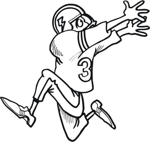480x456 Football Player Running To Catch The Ball Coloring Page Free
