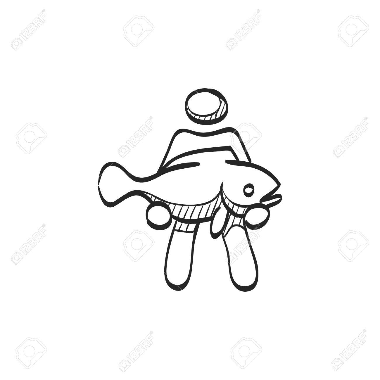 1300x1300 Man Holding Fish Icon In Doodle Sketch Lines. Fishing Fisherman