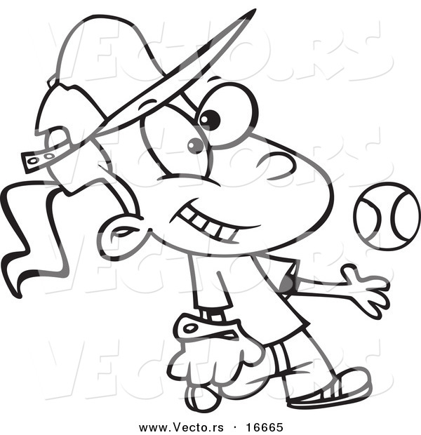 600x620 Vector Of A Cartoon Tomboy Girl Tossing And Catching A Baseball