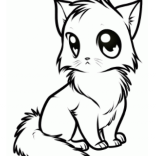 320x320 Tag For Simple Cute Cat Drawing Holding Hands And Sticking