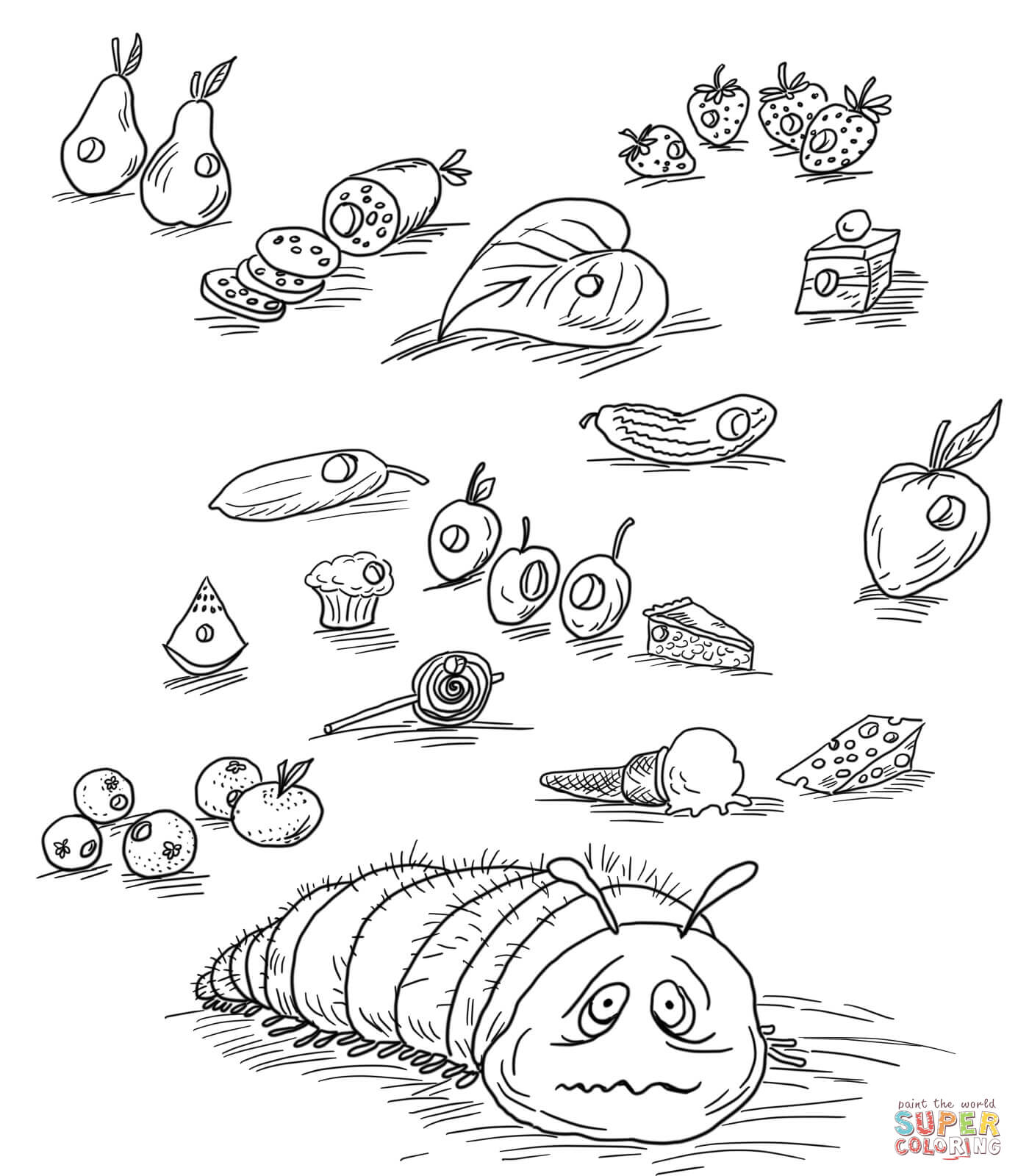 1385x1600 Very Hungry Caterpillar With Fruits And Foods Coloring Page