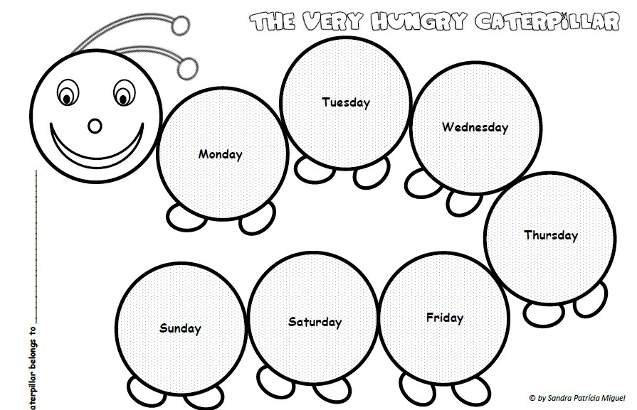 895x577 The Very Hungry Caterpillar Days Of The Week (Sequencing