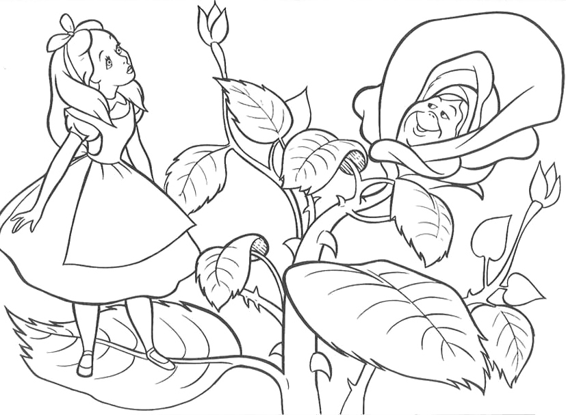 827x607 Alice In Wonderland Coloring Pages