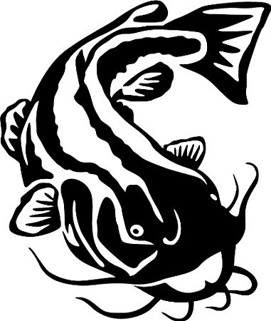 381x450 Flathead Catfish Wall Decal (Black
