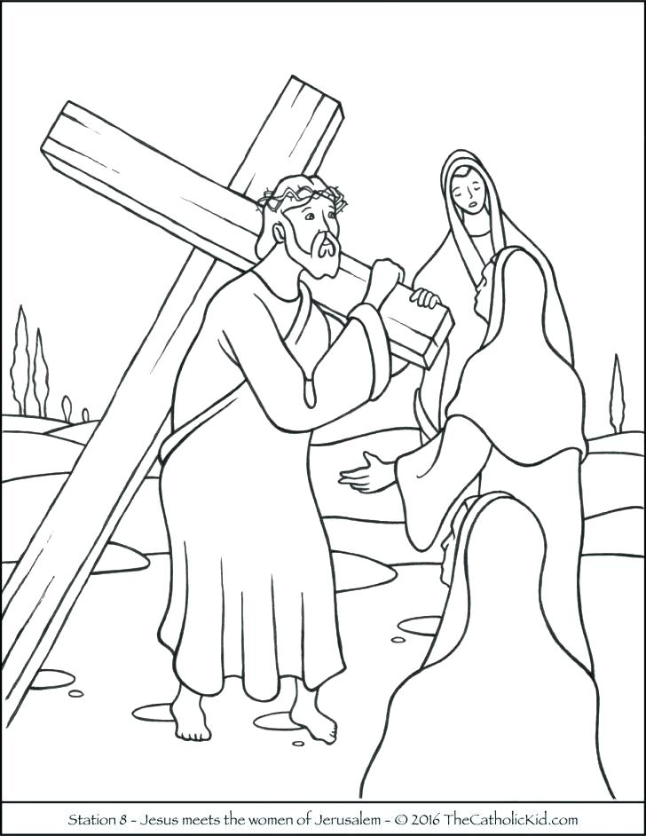 728x942 Stations Of The Cross Coloring Pages Also On The Cross Coloring