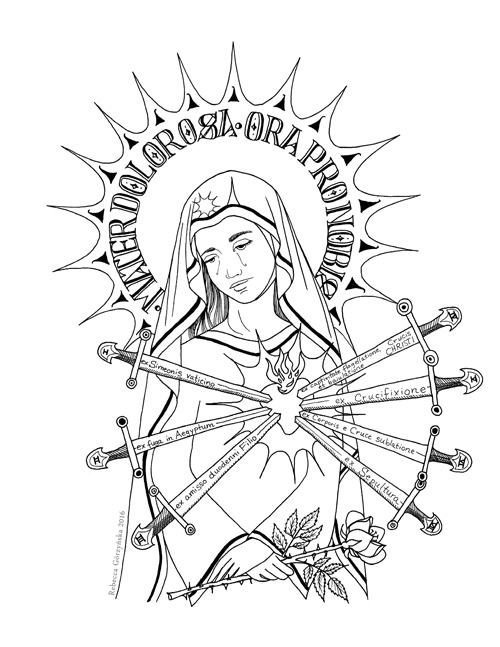 500x647 Our Lady Of Sorrows + Catholic Coloring Page Delphina Rose