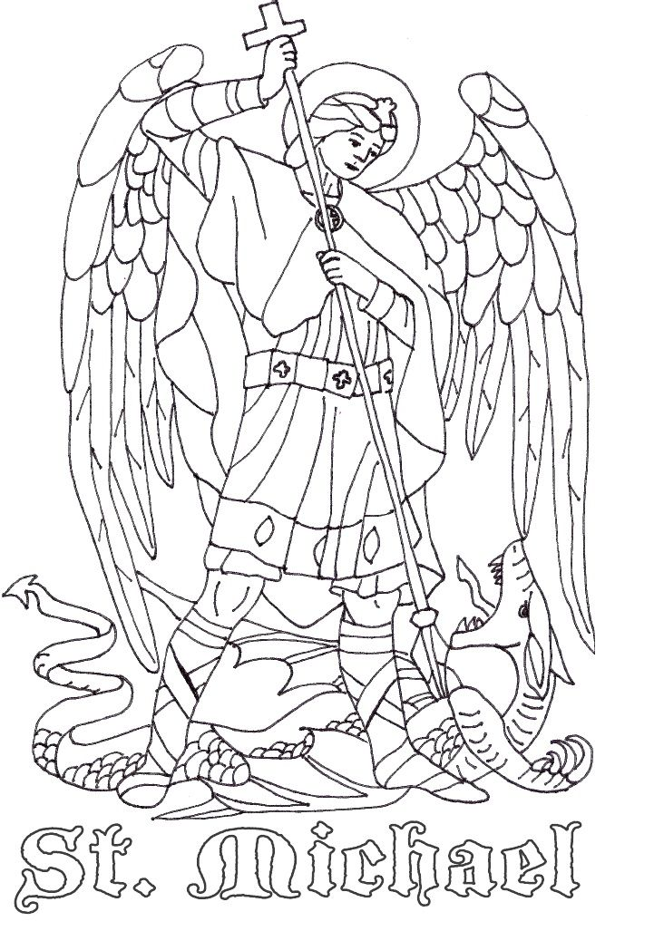 721x1027 St Michael The Archangel Catholic Coloring Page Catholic Crafts