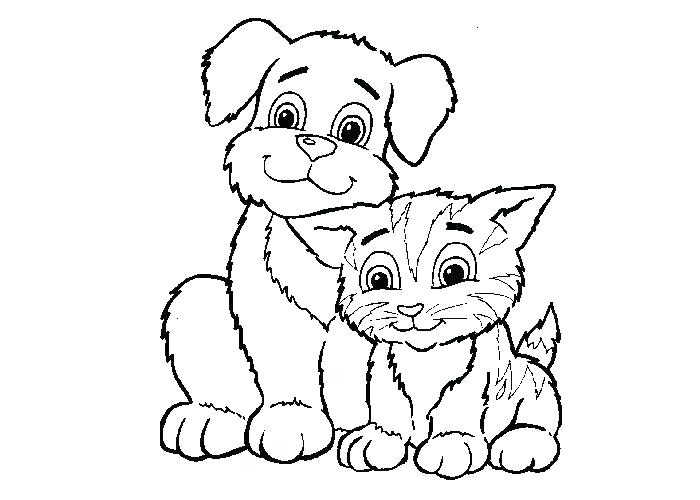 700x500 Color Pages Of Dogs Dog Cat Coloring Pages Printable Dog