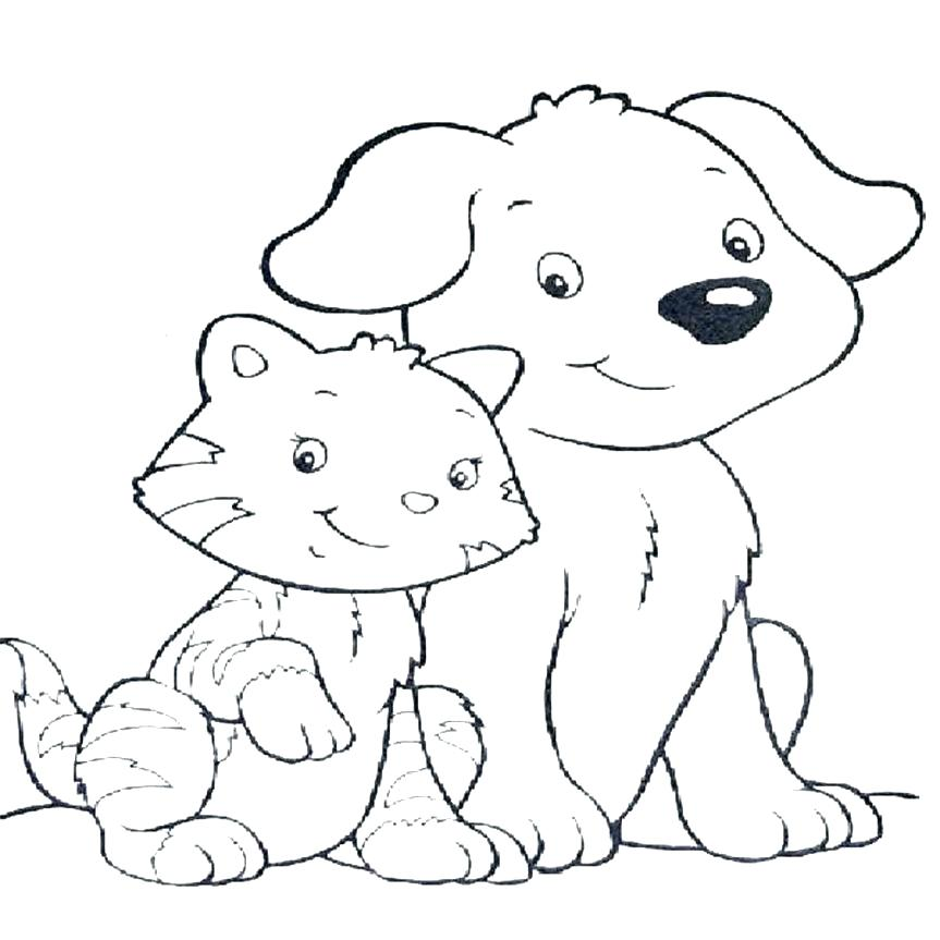 863x863 Dog And Cat Pictures To Color Cat And Dog Coloring Pages Dog