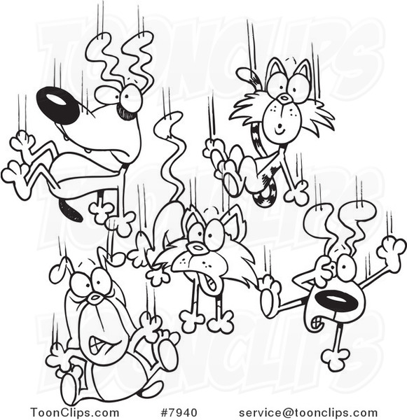 581x600 Cartoon Black And White Line Drawing Of Cats And Dogs Raining Down