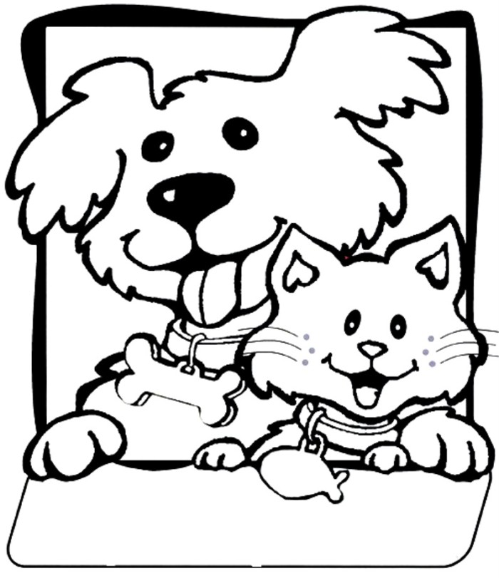 Coloring pages of puppies and kittys ~ Cats And Dogs Drawing at GetDrawings.com | Free for ...