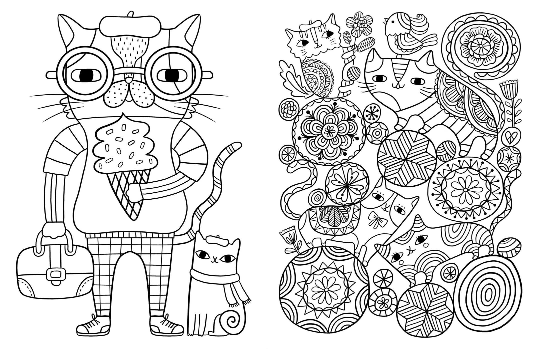 2136x1399 Posh Adult Coloring Book Cats Amp Kittens For Comfort