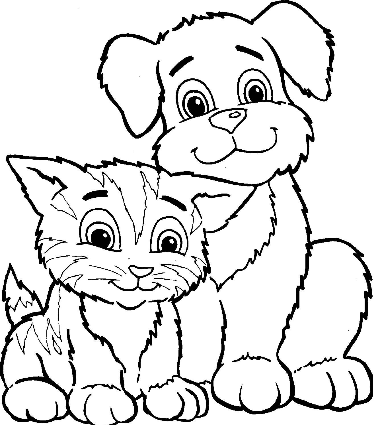 1328x1491 Drawing Dogs Cats Coloring Pages With Additional