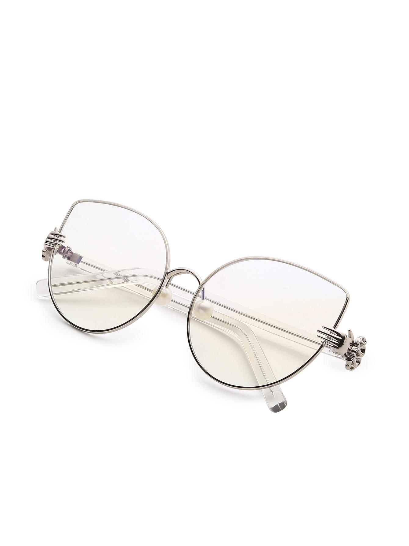 1340x1785 Faux Pearl Detail Cat Eye Glassesfor Women Romwe