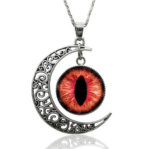 570x570 Necklace Crescent Moon Evil Cat Eye Punk Silver Harajuku Goth