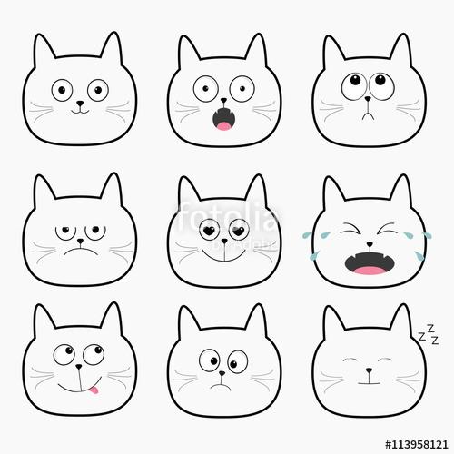 500x500 Cute Black Cat Head Set. Funny Cartoon Characters. Different