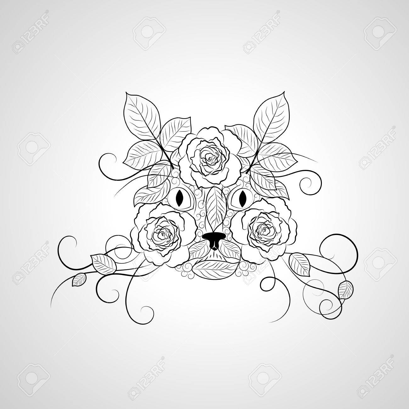 1300x1300 Hand Drawn Ornate Graphic Black And White Cat Face. Royalty Free