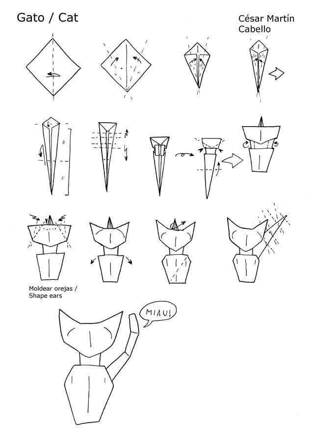 640x876 Cat Origami Tutorial Origami Cat Step Step Origami Cat Tutorial