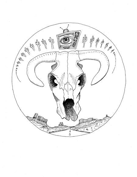 450x582 Items Similar To Desert Skull Sketch, Cattle, Road, Desert