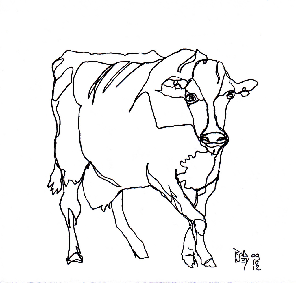 1024x980 Continuous Cow [20121009] Cow, Draw And Sketches